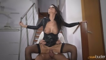 Enjoyable raven haired MILF in horny leather coat of paint gets fucked on steps challenging