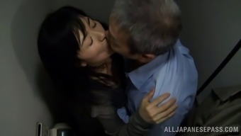 Age Japanese pornstar getting fucked doggy design by a attractive old man among the bathroom