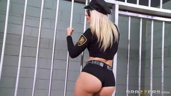 two different officers jada stevens and anikka albrite showing people their personal big asses