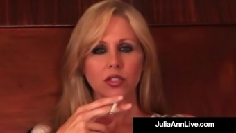 Big tits Blonde Milf Julia Ann Smokes A Cig & Acts With Pussy!