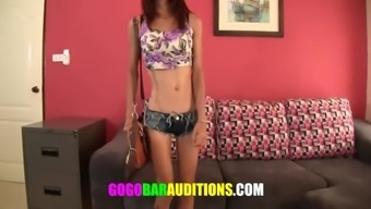Lean Thai yoga girl challenges to be gogo performer