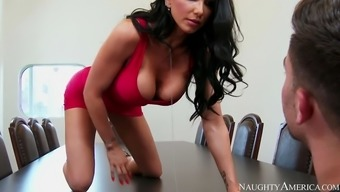romi rainfall climbed directly onto counter and showed him her vaginal canal