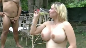 Enormous boobs women swallow lot of urinate