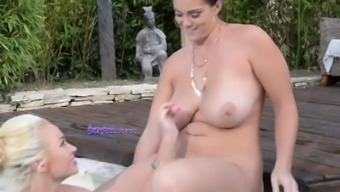 Boldly colored Pussy Absorption: Strap-On Glorification Among the Pool