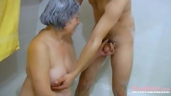 Furry granny looked up by strong a few having fun things genital stimulation threesome