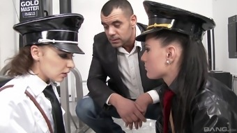 Henessy and Athina Completely love are girls in uniforms seeking a threesome