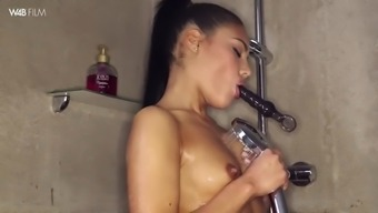 cute apolonia lapiedra products herself to actually height while taking a shower