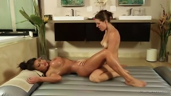 busty latina nadia villanova shears along with nuru masseuse sadie holmes