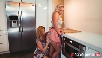 Bailey Brooke and Sara Jay connect for a girl on bones behavior