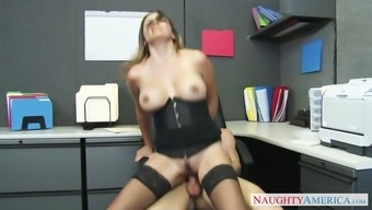 danica dillon wear stockings and corset excursions her supervisor in the office