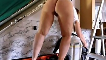Fat Stupid ass PAWG Proper cleaning the kitchen cabinets Never-ending
