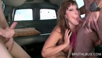 Great meloned MILF impact a pair of dicks in train 3some