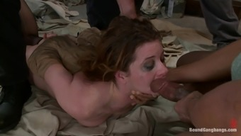 Various Cumshots after Double Absorption Fuck in Interracial Gangbang