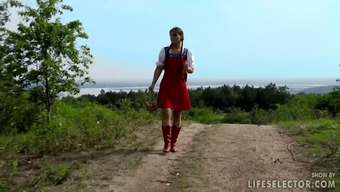 Little red cycling covering gets gangbanged within the wood