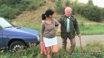 Gorgeous babe seduces grand father on the road