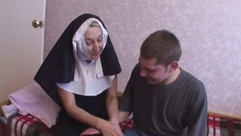 Nun fucks by using two different younger fellas