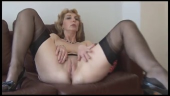 Senior In english black infant in stockings upskirt mock