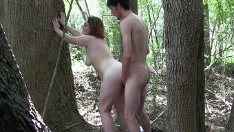 A few fucking outdoor in the wooded environment