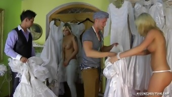 Remarkably perverted future bride succumbs to really hard-core fucking with the getting dressed space on her wedding morning