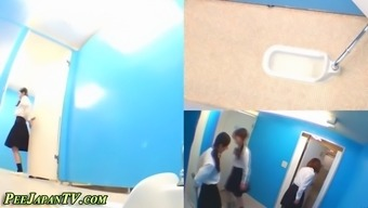 Bath room digicams video cute Japanese babes pissing in toilets