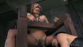 Juggy chick with the use of bound entire body gets her crummy cherry fucked by attractive girlfriend