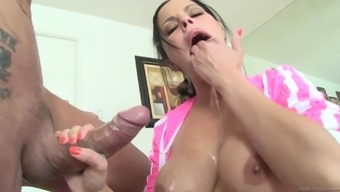 Delightful Latina blonde with extended hair color presenting huge python marvelous blowjob