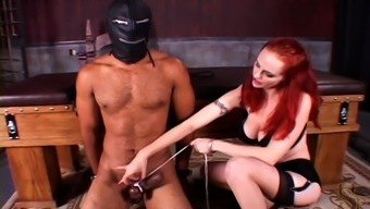 A wild blond playing intercourse video games together masked slave