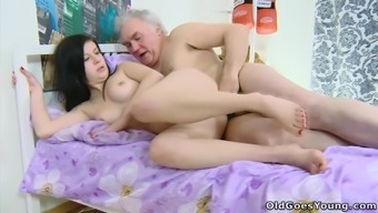 Wild brunette youngster is obtaining fucked by a couple of grandpas