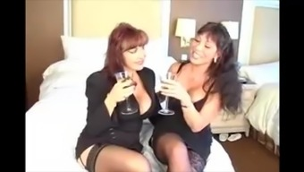 A couple of Horny MILF's in stockings please a porn star in fucking them