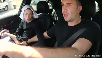 Slutty dark haired nun gives moist deep throat to really her pal in auto