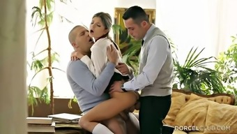 Twofold juicing up her wet youngster fuck holes inside a threesome