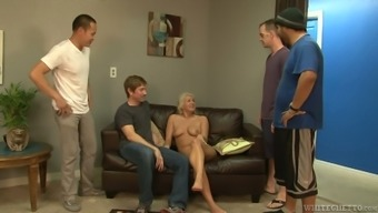 Flaxen bitch Layla Costs is getting aspect in wild gangbang scene