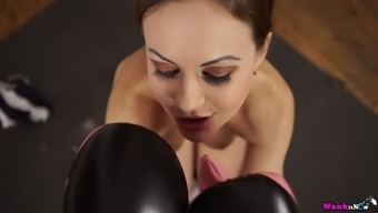 Spiteful lady in boxing gloves Tina Kay blows very difficult penile organ and jerks off it