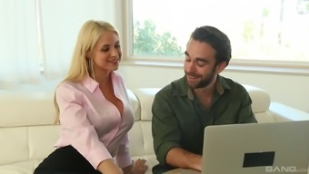 Sarah Vandella gives a stimulating footjob and actually has her twat poked