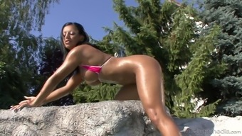 Outdoor adventure hammering workout by using tempting babe Kyra Black