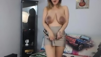 Large boobs blond spied on and reamed