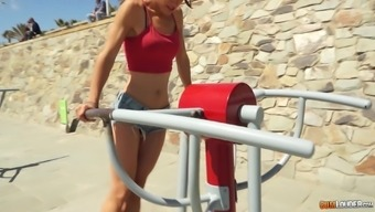 Brunette Julia Roca enjoys getting fucked from behind after a workout