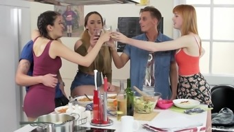 Group sex after a dinner party with Penelope Cum and a few friends