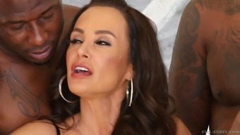 Lisa Ann gang banged by big black cocks and gets her face cum covered