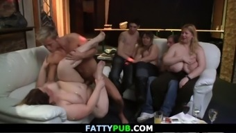 Chubby girl gives head and gets fucked at bbw party