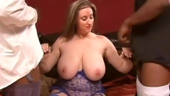 Fake tits Kity anal smashed with black cock in mmf