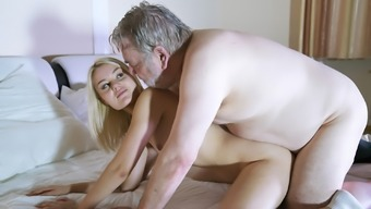 Skinny youngster sucks the prick of old adult man this lady swallows cum