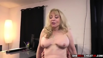 Younger employees romping Nina Hartleys mature pussy challenging