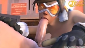 Horny minimal body hair Tracer from Overwatch gets fucked complicated