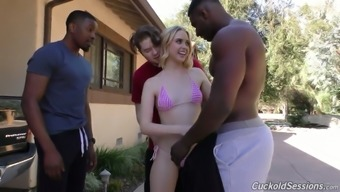 Several dark colored guys fuck sex-hungry holes of blond hen Chloe Couture
