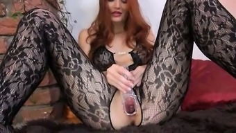 Gyno dildo in emily's younger times substantial redhead vaginal area
