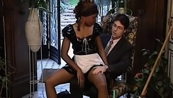 Horny ebony maid gets her great restricted twat pleased
