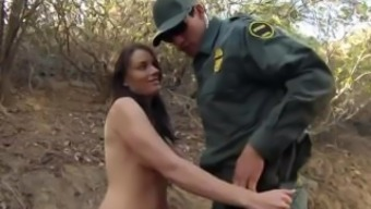 Large tit dark spiteful lady Kayla East was in fact caught lusty patrool during border