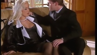 Sextractive blonde mistress Silvia St. fucks the legal counsel inside the living room