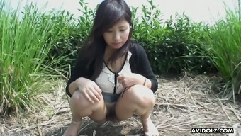 Lewd buxom Japanese people hottie Karin Asahi gonna get her pussy taunt open air